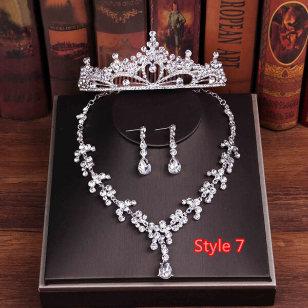 Perfect Necklace Earrings Crown Three Sets For Wedding Bride Jewelry NLC10_7
