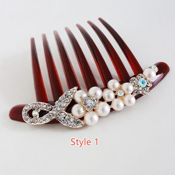 Bride Hair Comb With Diamond Pearl Head Ornaments Gift For Girlfriend Mother NLC12