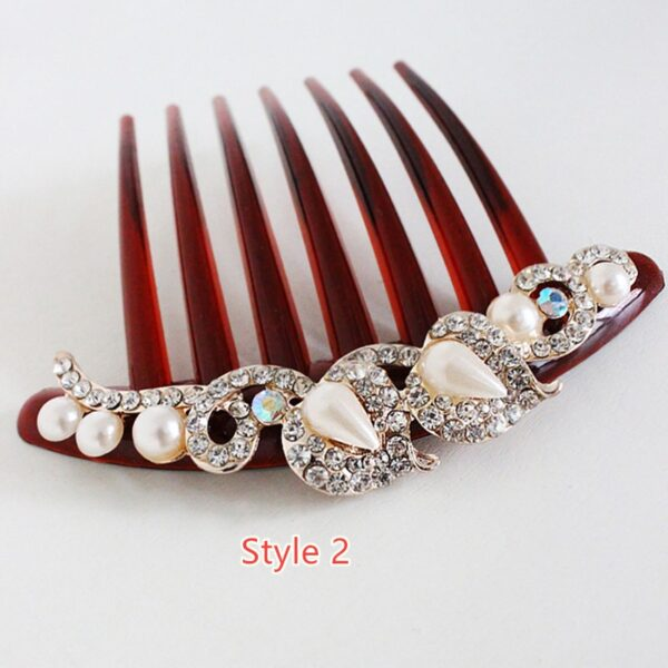 Bride Hair Comb With Diamond Pearl Head Ornaments Gift For Girlfriend Mother NLC12_2