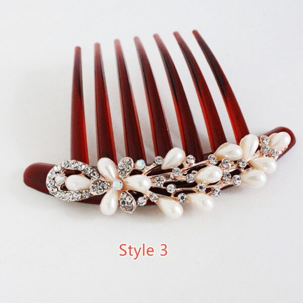 Bride Hair Comb With Diamond Pearl Head Ornaments Gift For Girlfriend Mother NLC12_3