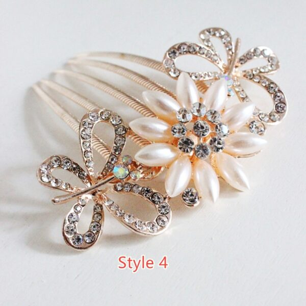 Bride Hair Comb With Diamond Pearl Head Ornaments Gift For Girlfriend Mother NLC12_4
