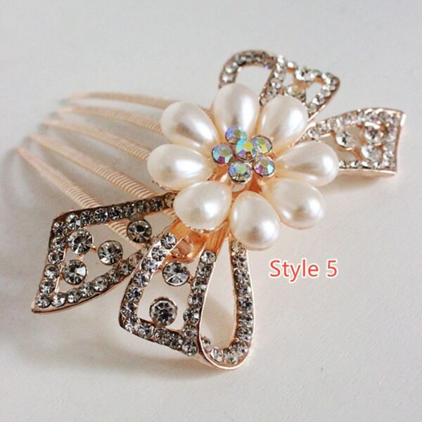 Bride Hair Comb With Diamond Pearl Head Ornaments Gift For Girlfriend Mother NLC12_5