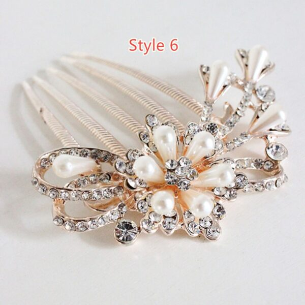 Bride Hair Comb With Diamond Pearl Head Ornaments Gift For Girlfriend Mother NLC12_6