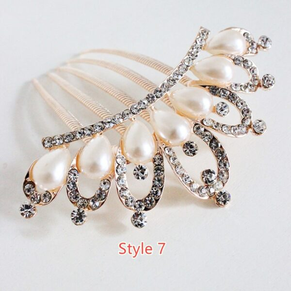 Bride Hair Comb With Diamond Pearl Head Ornaments Gift For Girlfriend Mother NLC12_7