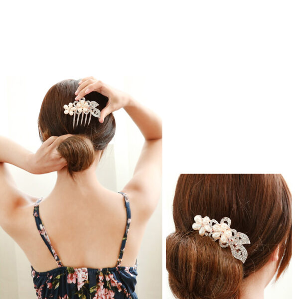 Bride Hair Comb With Diamond Pearl Head Ornaments Gift For Girlfriend Mother NLC12_8