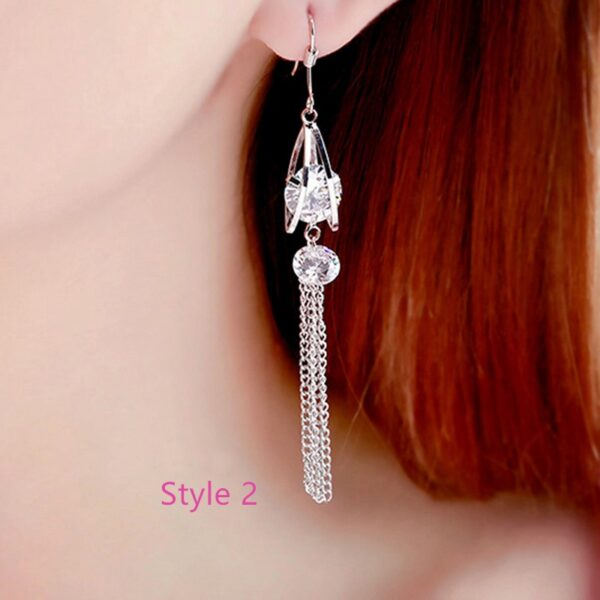 Fashion Crystal Long Earrings Tassel Earrings Female Accessories NLC14_2