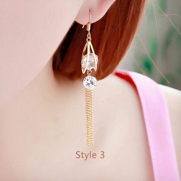 Fashion Crystal Long Earrings Tassel Earrings Female Accessories NLC14_3