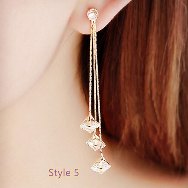 Fashion Crystal Long Earrings Tassel Earrings Female Accessories NLC14_5