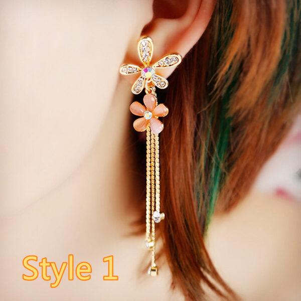 Long Crystal Pearl Pendant Earrings Accessories For Bride NLC13