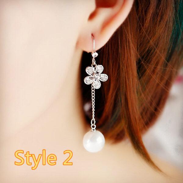 Long Crystal Pearl Pendant Earrings Accessories For Bride NLC13_2