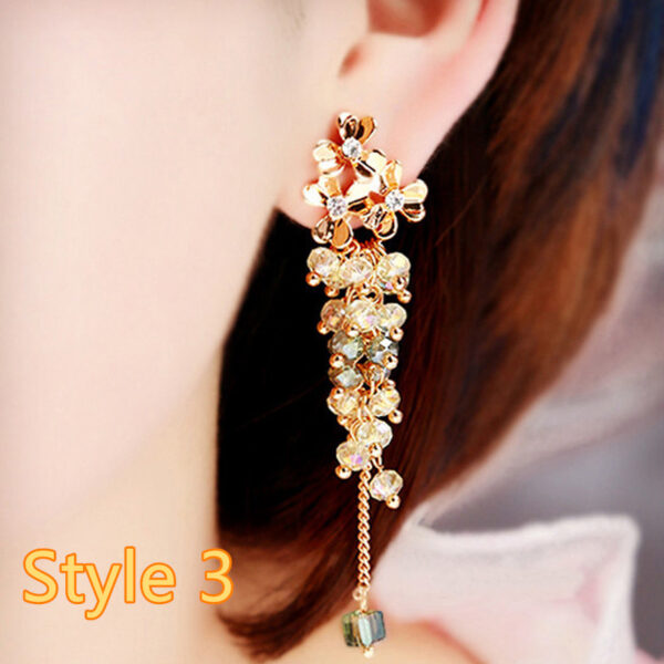 Long Crystal Pearl Pendant Earrings Accessories For Bride NLC13_3