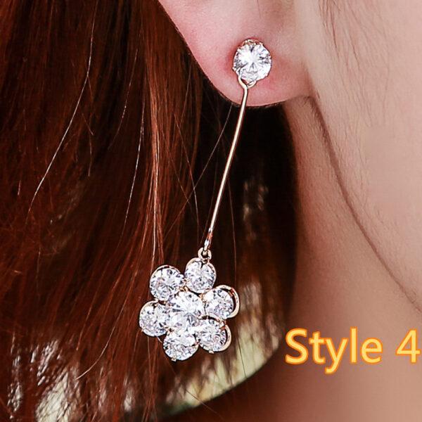 Long Crystal Pearl Pendant Earrings Accessories For Bride NLC13_4