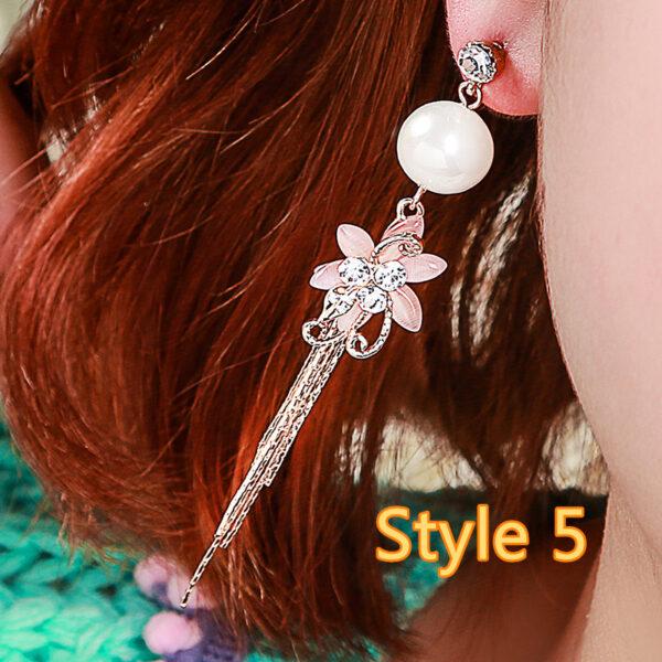 Long Crystal Pearl Pendant Earrings Accessories For Bride NLC13_5