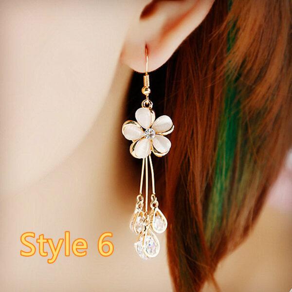 Long Crystal Pearl Pendant Earrings Accessories For Bride NLC13_6