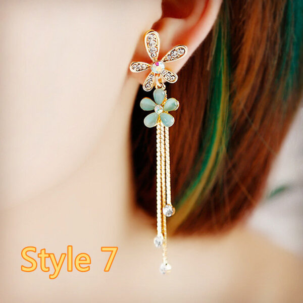 Long Crystal Pearl Pendant Earrings Accessories For Bride NLC13_7