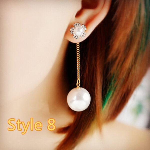 Long Crystal Pearl Pendant Earrings Accessories For Bride NLC13_8