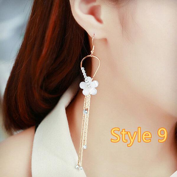 Long Crystal Pearl Pendant Earrings Accessories For Bride NLC13_9