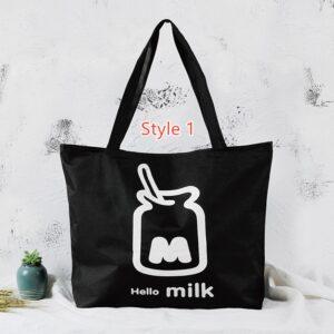 Simple Canvas One Shoulder Tote Bag Handbag With Zipper MFB10