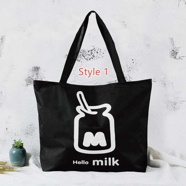 Simple Canvas One Shoulder Tote Bag Handbag With Zipper MFB10