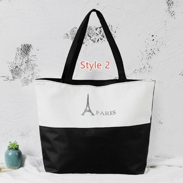 Simple Canvas One Shoulder Tote Bag Handbag With Zipper MFB10_2