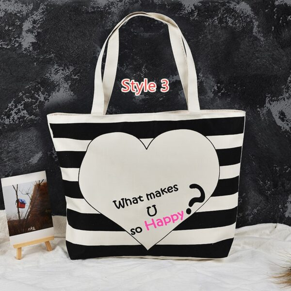 Simple Canvas One Shoulder Tote Bag Handbag With Zipper MFB10_3
