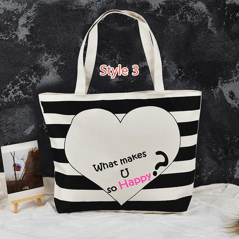 Simple Canvas One Shoulder Tote Bag Handbag With Zipper MFB10_3