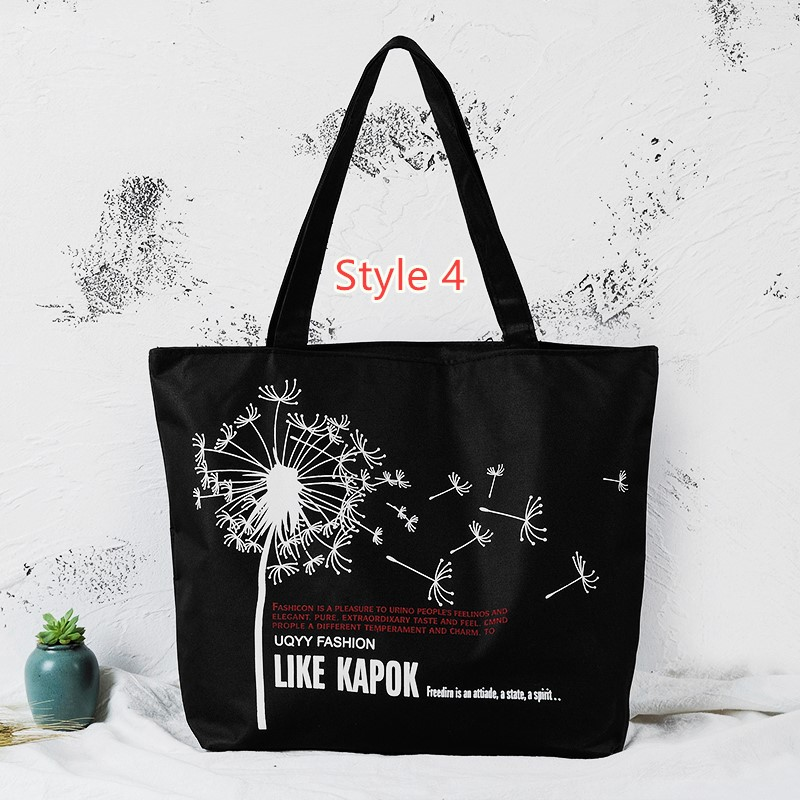 Simple Canvas One Shoulder Tote Bag Handbag With Zipper MFB10_4