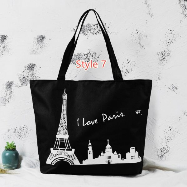 Simple Canvas One Shoulder Tote Bag Handbag With Zipper MFB10_7