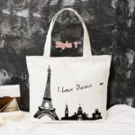Simple Canvas One Shoulder Tote Bag Handbag With Zipper MFB11