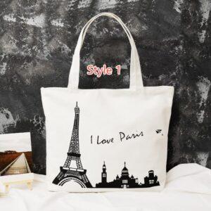 Simple Canvas One Shoulder Tote Bag Handbag With Zipper MFB11