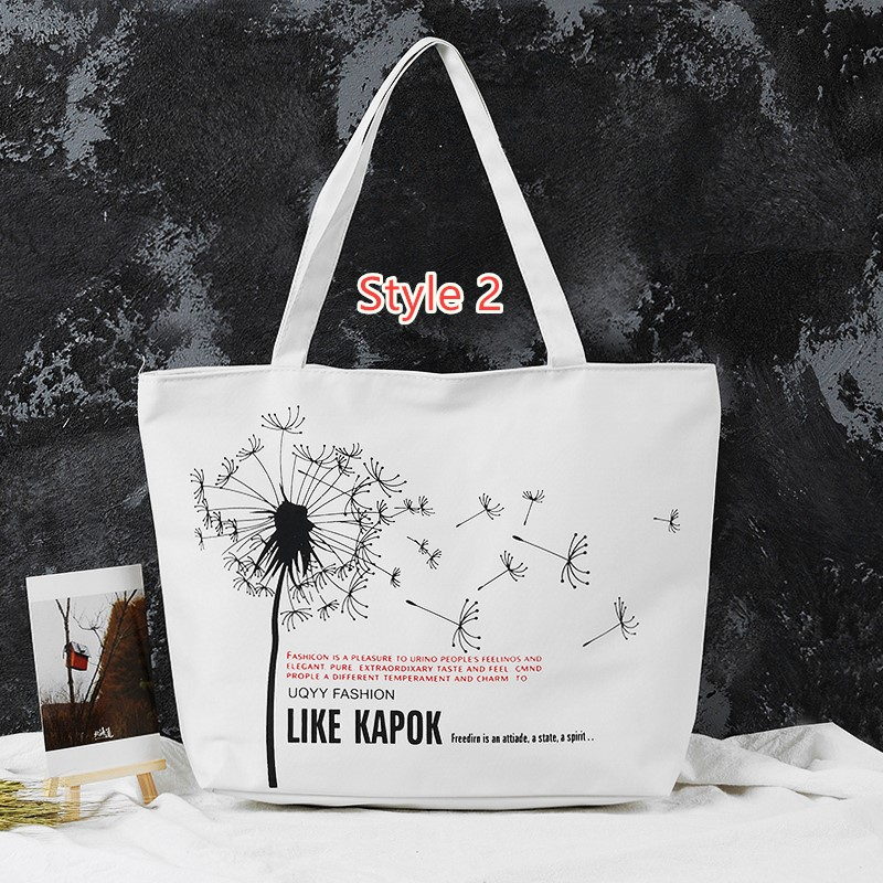 Simple Canvas One Shoulder Tote Bag Handbag With Zipper MFB11_2