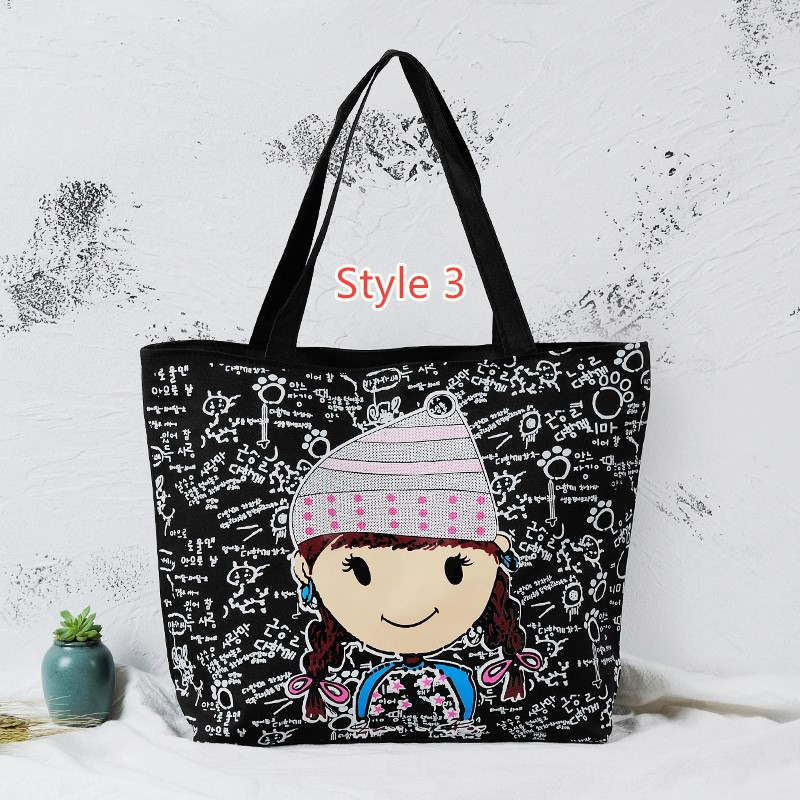 Simple Canvas One Shoulder Tote Bag Handbag With Zipper MFB11_3