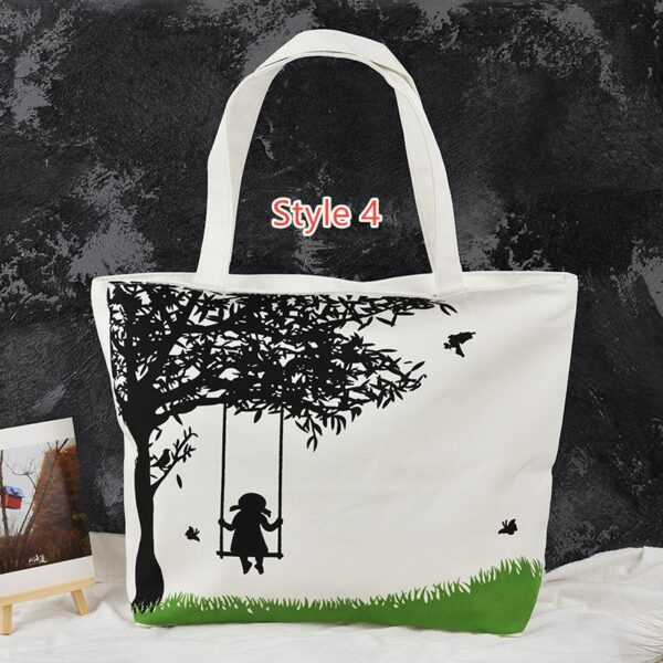 Simple Canvas One Shoulder Tote Bag Handbag With Zipper MFB11_4