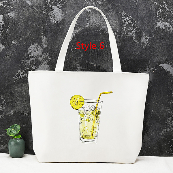 Simple Canvas One Shoulder Tote Bag Handbag With Zipper MFB11_6