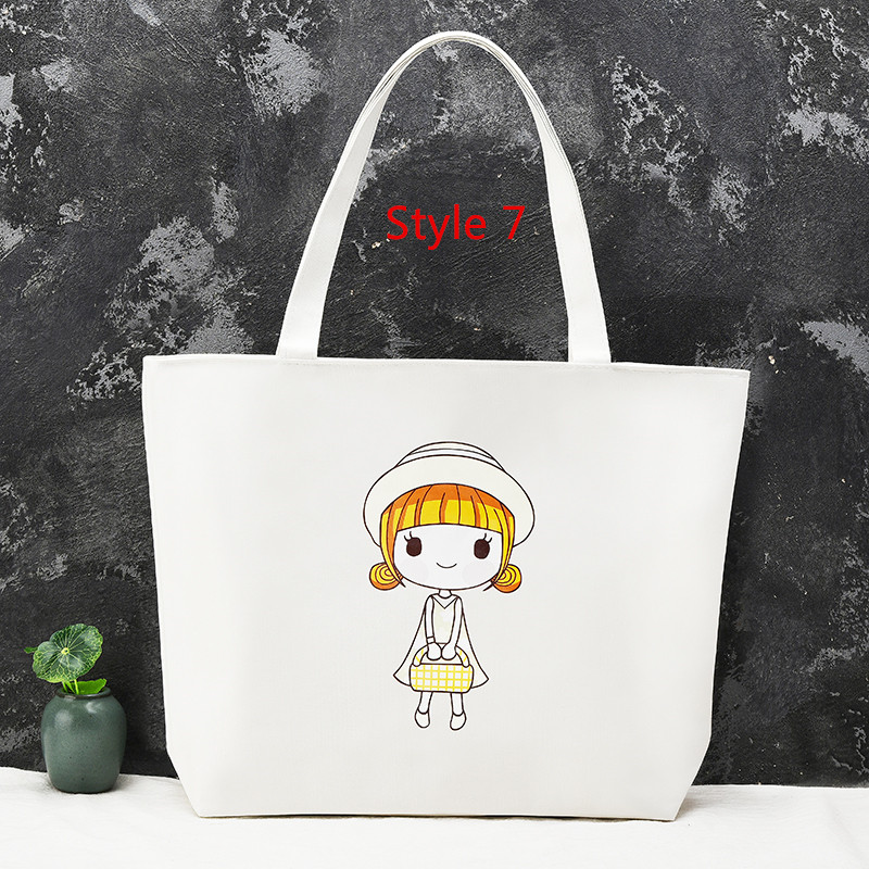 Simple Canvas One Shoulder Tote Bag Handbag With Zipper MFB11_7