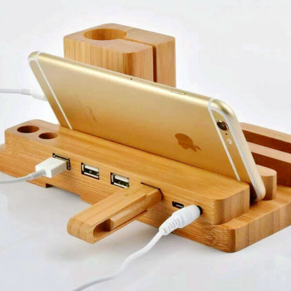 Wood Stand For Apple Watch iPhone iPad Charging Base IPS10_3
