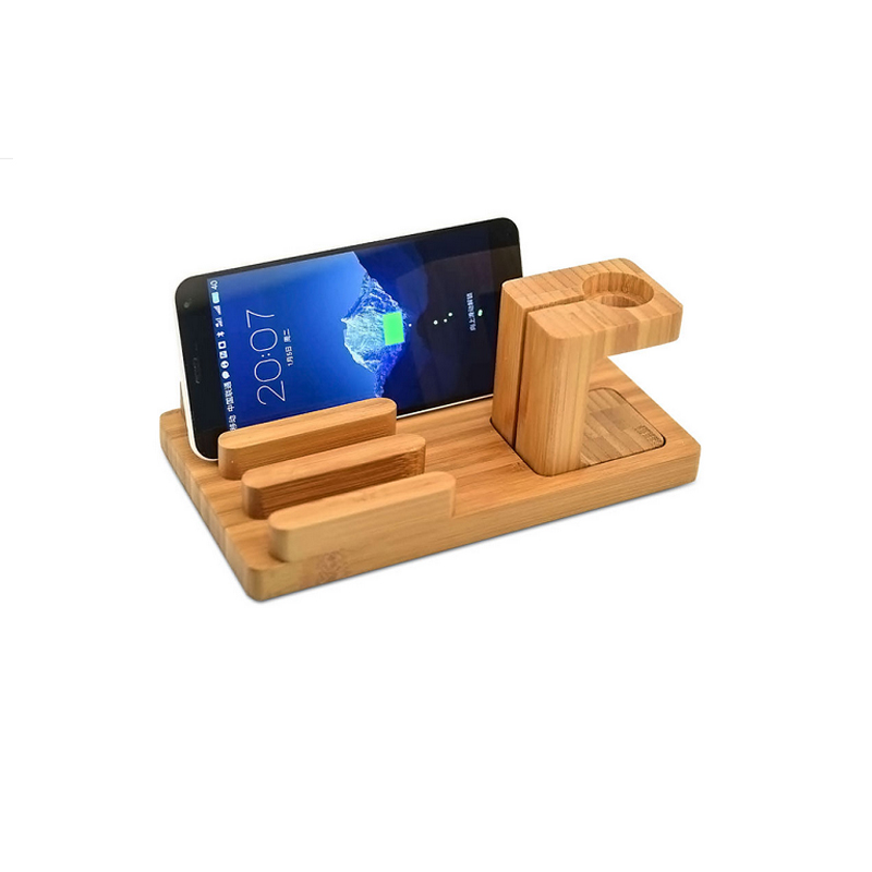 Wood Stand For Apple Watch iPhone iPad Charging Base IPS10_4