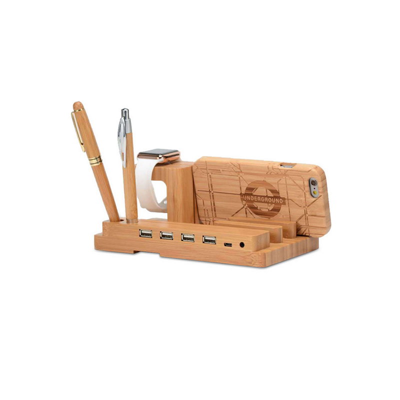 Wood Stand For Apple Watch iPhone iPad Charging Base IPS10_5