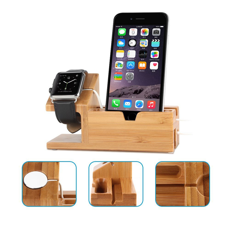 Wood Stand For Apple Watch iPhone iPad Charging Base IPS10_6