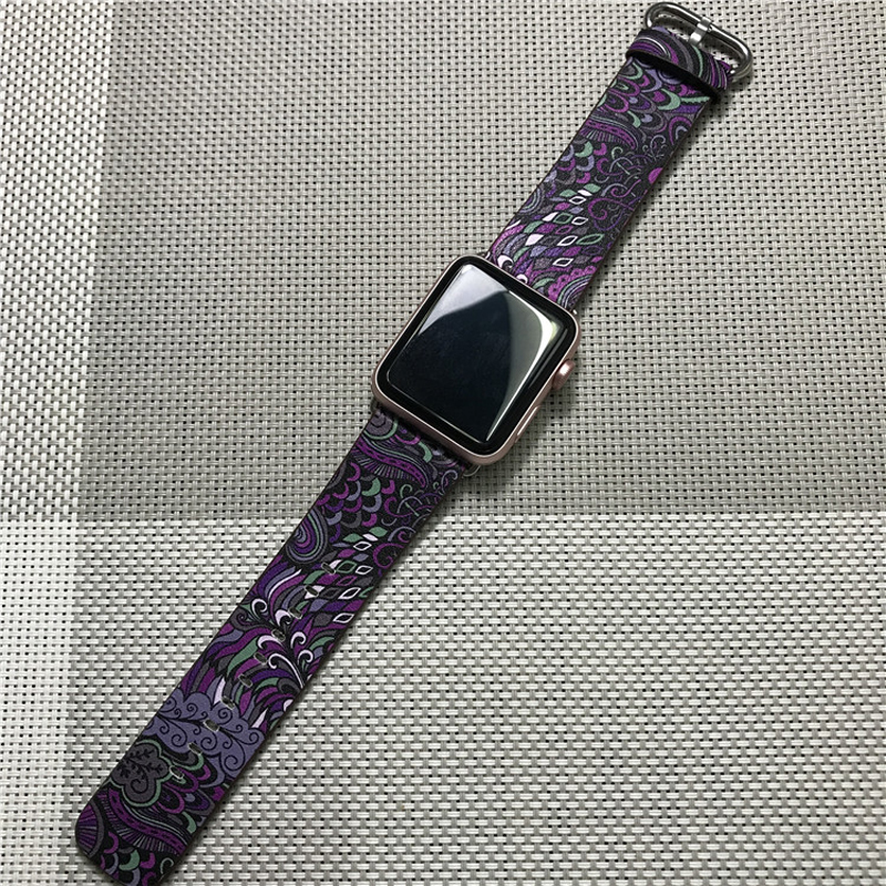 Perfect Totem Pattern Leather Apple Watch Series 1 2 3 4 Band AWB09_2