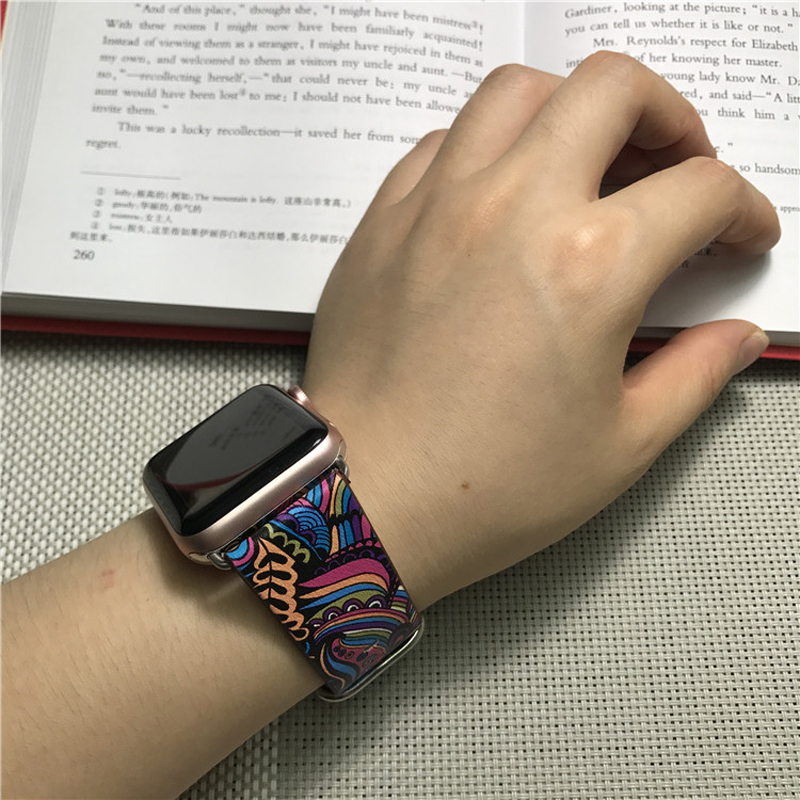 Perfect Totem Pattern Leather Apple Watch Series 1 2 3 4 Band AWB09_7