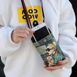 Cute Cartoon Neck Hanging Phone Wallet Bag PW06