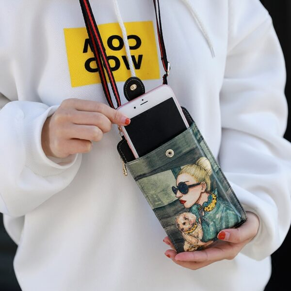 Cute Cartoon Neck Hanging Phone Wallet Bag PW06