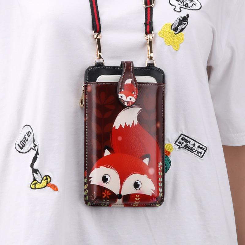 Cute Cartoon Neck Hanging Phone Wallet Bag PW06_2