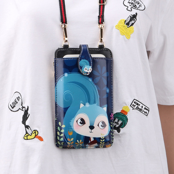 Cute Cartoon Neck Hanging Phone Wallet Bag PW06_4