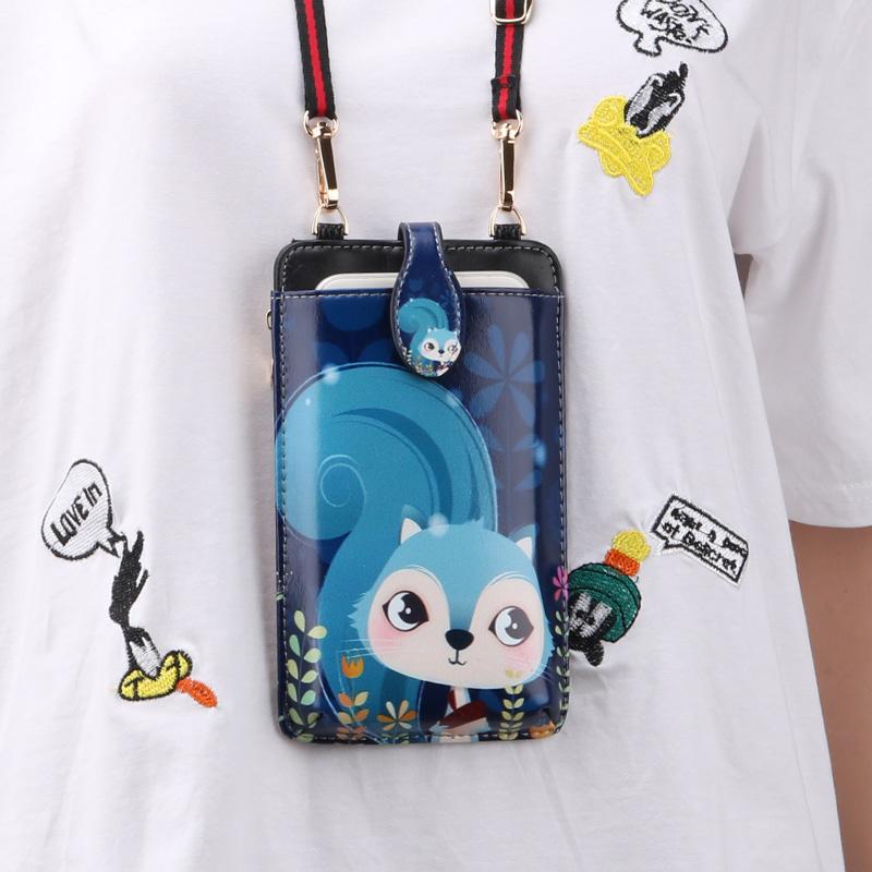 Cute Cartoon Neck Hanging Phone Wallet Bag PW06_4