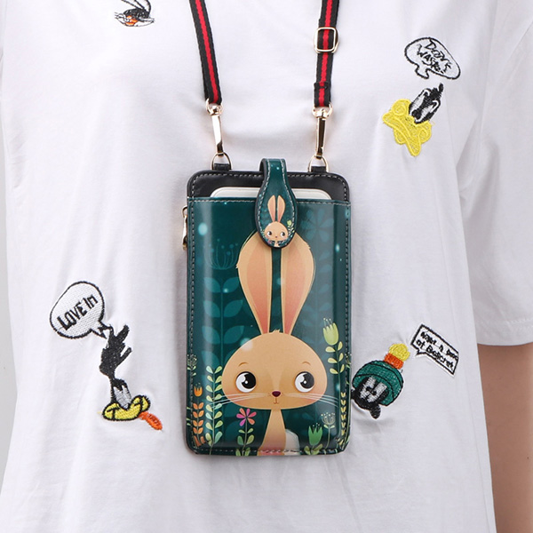 Cute Cartoon Neck Hanging Phone Wallet Bag PW06_5