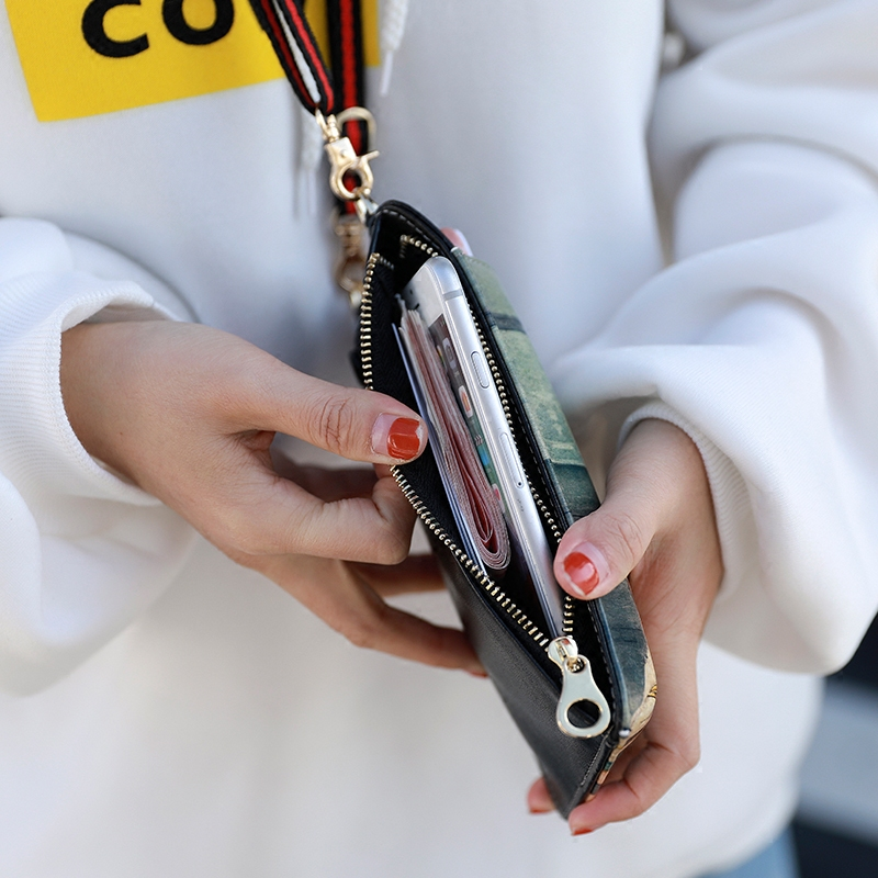 Cute Cartoon Neck Hanging Phone Wallet Bag PW06_6