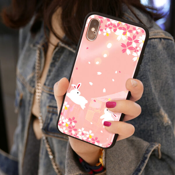 Pink Painted iPhone X Case Cover With Lanyard IPS113_2
