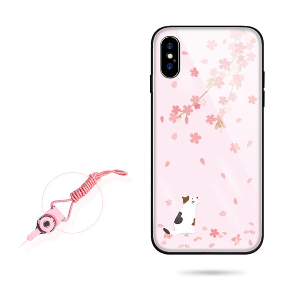 Pink Painted iPhone X XS Case Cover With Lanyard IPS113_3